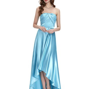 Strapless Blue Evening Gowns Floor-Length Silk-Like Short Front Long Back Evening Party Dress