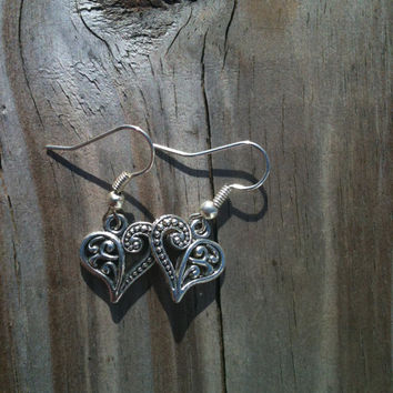 Mini Rustic Silver Whimsical Heart Earrings