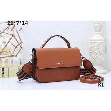 CHARLES & KEITH New Contrast Studded Tote Bag Small Square Bag Wide Shoulder Strap Crossbody Bag Brown