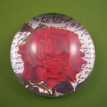 Mademoiselle Red Rose and Script Round Large Glass Dome Paperweight Floral Home Decor June Birthday