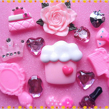 Pink flower Cake DIY bling cell phone case cabochon deco kit 14pcs