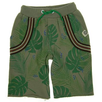 Tropical Forest Suspenders Shorts by: Mini Shatsu