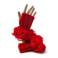fingerless gloves burlesque frilly ruffle red knit gloves chunky mohair mitts with ruffled cuffs