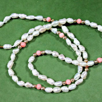 Angelskin Coral Freshwater Pearl Rice Beads 14k Clasp Beaded Necklace Single Strand High Luster Bright Lustrous White Rice Pearls Necklace