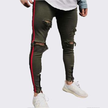 Mens Side Red Stripe Biker Jeans Denim Ripped Holes Slim Supper Skinny Hip Hop Jeans Mens