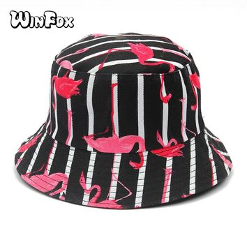 Winfox New Fashion Summer Reversible Black Navy Striped Flamingo Print Boonie Bucket Hats Fisherman Gorro Pescador Womens Ladies