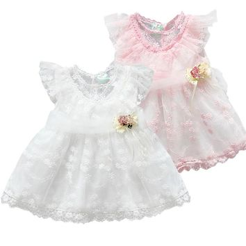 2017 Newest Lace Summer Cute Lace Baby Girls Dress Korean Style Trendy Lovely Retro Princess Clothes Kids Children's Dresses