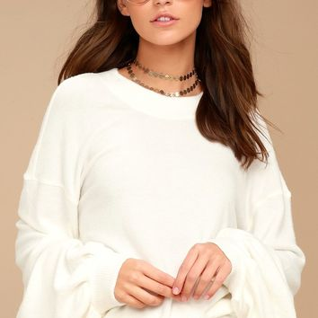 Free People TGIF White Sweatshirt
