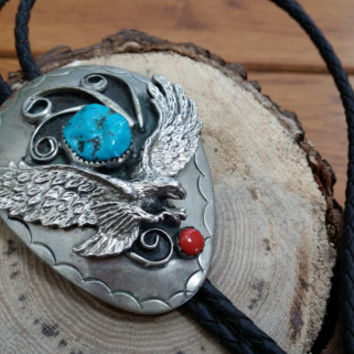 Vintage Native American Silver Turquoise and Red Coral Eagle Leather Bolo Tie Accessory Guy Gift Neckace Statement Piece