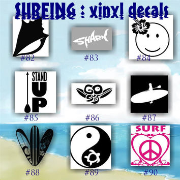 SURFING vinyl decals - 82-90 - palm tree sticker - tropical stickers - surfboard decals - car window stickers