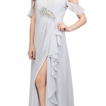 Empire Waist Long Formal Dress with Slit and Drapes Silver
