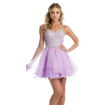 Short Tiered Tulle Homecoming Lilac Dress Embroidered Bodice