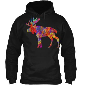 Colorful Canadian Moose  Abstract Paint Wildlife Tee Pullover Hoodie 8 oz