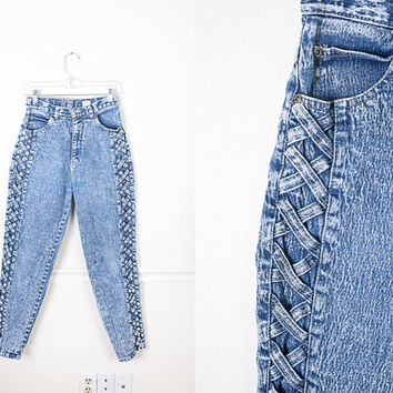 Vintage Acid Wash MOM Jeans / High Waisted Jeans / 90s Jeans 80s Jeans / 90s Grunge Jeans / Bleached Denim Skinny Jeans / 80s Tight Pants