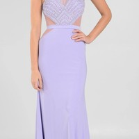 Halter Sheer Cut-Out Embellished Bodice Long Prom Dress Lilac