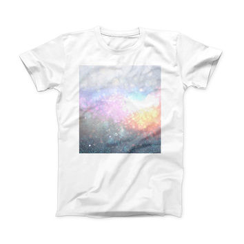 The unfocused Multicolor Glowing Orbs of Light ink-Fuzed Front Spot Graphic Unisex Soft-Fitted Tee Shirt