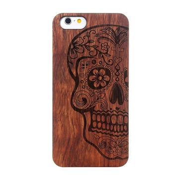 Wood Case for iPhone 6 Wooden 6Plus  Cover Natural Real Rosewood Bamboo Carving Patterns Wood Slice Plastic Edges Back Cover