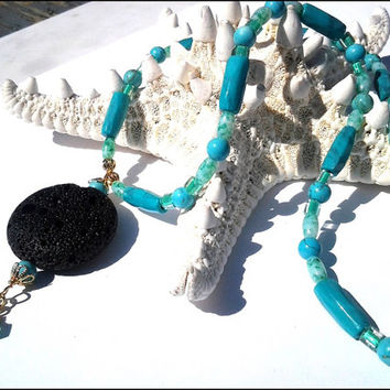 Black Lava Pendant Women's Necklace | Turquoise Gemstone Women's Necklace | Black and Green Women's Necklace | Lady Green Eyes Jewelry