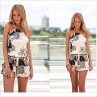 Sleeveless Sexy Stylish Print Romper [4920537156]