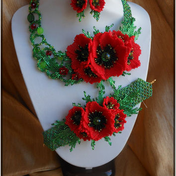 Jewelry Set Red poppies