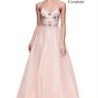 Kari Chang KC40 Pink Beaded Top Ball Gown Prom Dress
