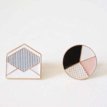 2 Deco-style Icons Enamel Pins | Envelope Lapel Pins | Brooch | Enamel Pin Set