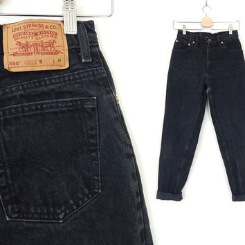 "Vintage 90s Black Levi's 550 High Waisted Jeans - Size 5 - Women's Faded Relaxed Fit Tapered Leg Mom Jeans - 26"" Waist"