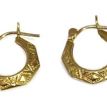 Vintage 14k Gold Etched Hoop Earrings, Small Gold Hoops Lever Back