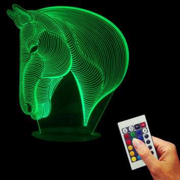 Horse 3D  LED Lamp Colorful Remote Change Color Desk Table Lamp Head2