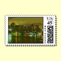 Nightlights and Reflections in Boston--postage from Zazzle.com