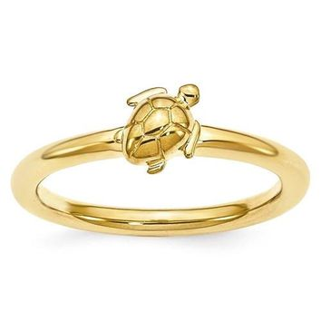Sterling Silver Yellow Gold Plated Stackable Expressions Turtle Ring