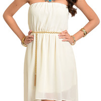 Ivory Sexy Strapless Chiffon Overlay High-Low Dress with Belt
