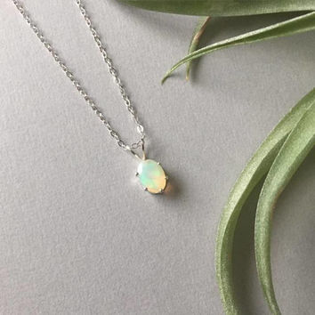 Rainbow Opal Pendant, October Birthstone, Oval Opal Solitaire, Birthday Gift Ideas For Her, Minimalist Jewelry, Dainty White Opal Necklace