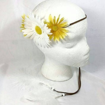 Daisy Feather Faux Leather Headband/Yellow White Daisy Flower/Groovy Hippie Headband/Coachella Boho Headband/Bohemian/Burning Man Headband