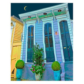 Colorful New Orleans Shotgun Houses 8x10 11x14 16x20 - Under the Light of a Slivery Moon - Korpita