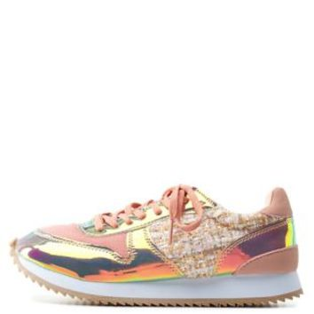 Blush Madden Girl Boucle & Hologram Sneakers