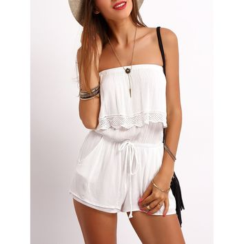 White Strapless Ruffle Trim Drawstring Jumpsuit