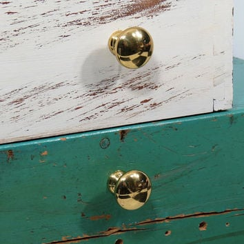 2 Vintage Heavy Solid Brass Drawer Pulls . 1960s Era Mid Century . Furniture Knob Handle . Cabinet Hardware