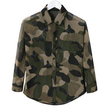 Casual Shirt Collar Long Sleeves Camouflage Color Asymmetric Blouse For Women