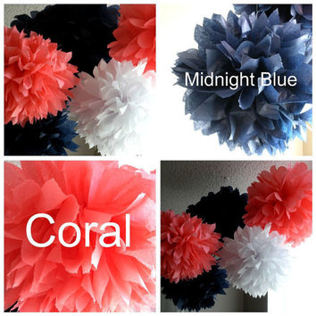 Navy and Coral Theme Pom Set, Nautical Theme Poms, 7 Tissue Paper Pom Poms, Birthday Party, Wedding, Baby Shower, 1st Birthday, Nursery