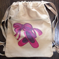 Drawstring Backpack With Hand Painted Ballet Slippers