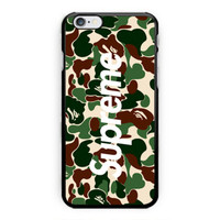 New Supreme x Bape Camo Print On Hard Case For iPhone 6s, 6s plus
