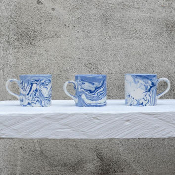 Blue And White Ceramic Coffee Cup