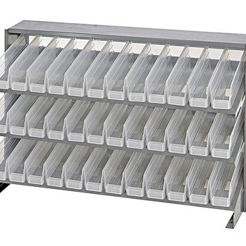 Quantum 36 QSB100CL Clear-View Bin Storage Sloped Shelving Bench Pick Rack System 12-1/2 X 36 X 23