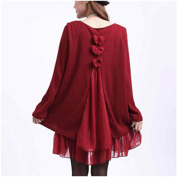 Vintage Bow Tie and Ruffles Tunic – Plus Size up to 4X