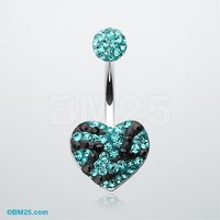 Tiffany Inspired Majestic Stripe Heart Belly Button Ring