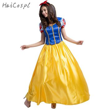 High Quality Plus Size Snow White Costume For Women Fairy Tale Cinderella Princess Long Dress Halloween Cosplay Female Adult