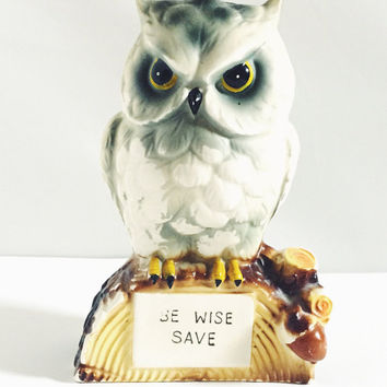 Vintage, Be Wise and Save, Ceramic, Owl, Piggy Bank, Without Stopper, Made in Japan