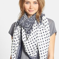 Women's Accessories 212 Polka Dot & Paisley Print Scarf - Blue