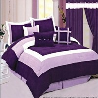 Soft Micro Suede Comforter Set bedding-in-a-bag, Purple - Queen